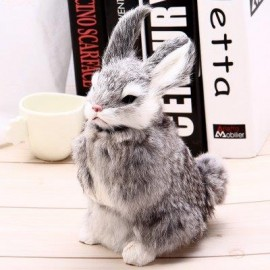 image of SIMULATION ANIMAL SQUATTING RABBIT TOY FOR GIFT DECORATION (GRAY) -