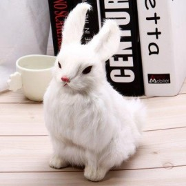 image of SIMULATION ANIMAL SQUATTING RABBIT TOY FOR GIFT DECORATION (WHITE) -