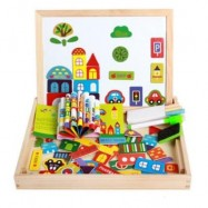 image of MAGNETIC JIGSAW PUZZLES TECH EDUCATIONAL WOODEN TOY FOR KIDS DOUBLE SIDED DRAWING BOARD (WOOD) 0