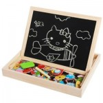 MAGNETIC JIGSAW PUZZLES TECH EDUCATIONAL WOODEN TOY FOR KIDS DOUBLE SIDED DRAWING BOARD (WOOD) 0