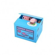 image of ROBOTIC STEALING MONEY PIG TOY COIN BANK / SAVING BOX GREAT KIDS PRESENT (BLUE) 15.00 x 12.50 x 12.60 cm