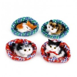 image of 4PCS CUTE SIMULATION CAT PLUSH DOLL WITH NEST BIRTHDAY CHRISTMAS PRESENT (COLORMIX) One SIze