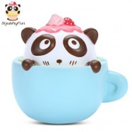 image of SQUISHYFUN PU SLOW RISING SIMULATE CUTE PANDA COFFEE CUP TOY (BLUE) -