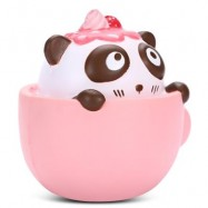 image of SQUISHYFUN PU SLOW RISING SIMULATE CUTE PANDA COFFEE CUP TOY (PINK) -