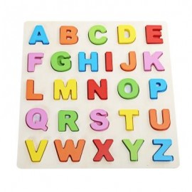 image of MUMAMA WOODEN BUILDING BLOCK ANIMAL LETTER JIGSAW TOY (MULTICOLOR) CAPITAL PATTERN