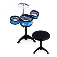 image of WANYI KIDS JAZZ DRUMS KIT MUSICAL INSTRUMENT TOY WITH CYMBAL STOOL CHRISTMAS BIRTHDAY GIFT (BLUE) -