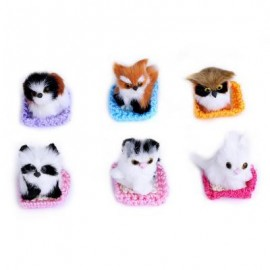 image of 6PCS LOVELY STANDING ANIMALS MINI SIMULATION PLUSH TOY WITH NEST BIRTHDAY CHRISTMAS GIFT (COLORMIX) One SIze