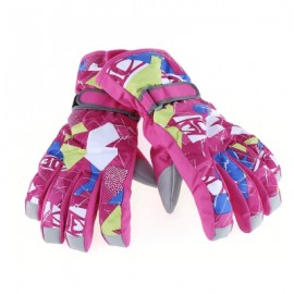 image of MARSNOW PAIRED WATERPROOF WINDPROOF THICKEN WARM PROTECTION ANTI-SLIP SKIING MOUNTAINEERING GLOVES (ROSE MADDER) XS