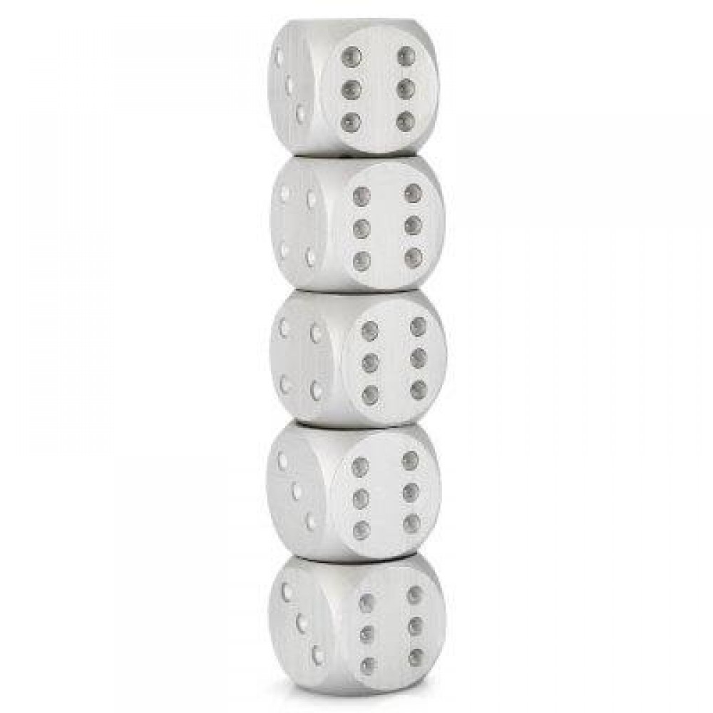 5PCS ALUMINUM ALLOY 6-SIDED NOVELTY ADULT DICE WITH DECORATION PIT GAME TOY (SILVER) -
