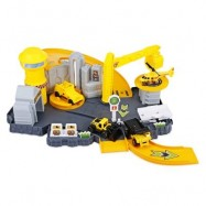 image of P871 - A KIDS RAILWAY CAR PLAY SET CONSTRUCTION SITE PARKING TOY (YELLOW) 0