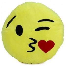 image of 33CM EMOJI SMILEY EMOTION ROUND THROW PILLOW STUFFED PLUSH SOFT TOY (KISS HEART) 33.00 x 33.00 x 7.00 cm