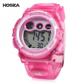 image of HOSKA H002B CHILDREN LED DIGITAL WATCH WATER RESISTANCE DAY CHRONOGRAPH LED SPORTS WRISTWATCH (PINK) 0