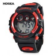 image of HOSKA H002B CHILDREN LED DIGITAL WATCH WATER RESISTANCE DAY CHRONOGRAPH LED SPORTS WRISTWATCH (RED WITH BLACK) 0