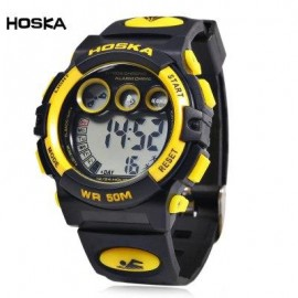 image of HOSKA H002B CHILDREN LED DIGITAL WATCH WATER RESISTANCE DAY CHRONOGRAPH LED SPORTS WRISTWATCH (YELLOW AND BLACK) 0
