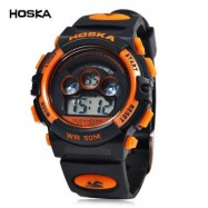 image of HOSKA H001S CHILDREN LED DIGITAL WATCH WATER RESISTANCE DAY CHRONOGRAPH LED SPORTS WRISTWATCH (BLACK AND ORANGE) 0