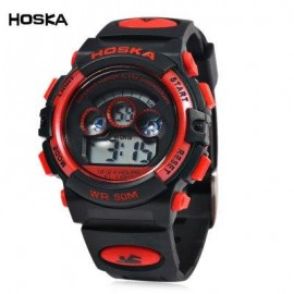 image of HOSKA H001S CHILDREN LED DIGITAL WATCH WATER RESISTANCE DAY CHRONOGRAPH LED SPORTS WRISTWATCH (RED WITH BLACK) 0
