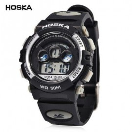 image of HOSKA H001S CHILDREN LED DIGITAL WATCH WATER RESISTANCE DAY CHRONOGRAPH LED SPORTS WRISTWATCH (WHITE AND BLACK) 0