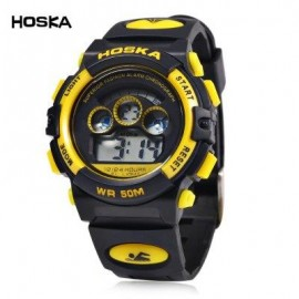 image of HOSKA H001S CHILDREN LED DIGITAL WATCH WATER RESISTANCE DAY CHRONOGRAPH LED SPORTS WRISTWATCH (YELLOW AND BLACK) 0