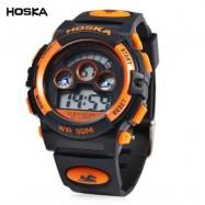 image of HOSKA H001B CHILDREN LED DIGITAL WATCH WATER RESISTANCE DAY CHRONOGRAPH SPORTS WRISTWATCH (BLACK AND ORANGE) 0