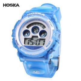 image of HOSKA H001B CHILDREN LED DIGITAL WATCH WATER RESISTANCE DAY CHRONOGRAPH SPORTS WRISTWATCH (BLUE) 0