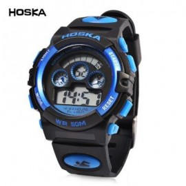 image of HOSKA H001B CHILDREN LED DIGITAL WATCH WATER RESISTANCE DAY CHRONOGRAPH SPORTS WRISTWATCH (BLUE AND BLACK) 0