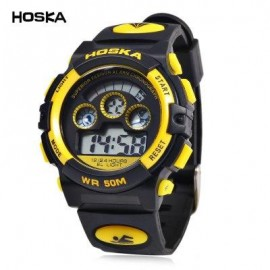 image of HOSKA H001B CHILDREN LED DIGITAL WATCH WATER RESISTANCE DAY CHRONOGRAPH SPORTS WRISTWATCH (YELLOW AND BLACK) 0