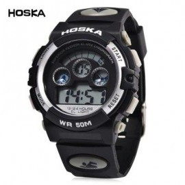 image of HOSKA H001B CHILDREN LED DIGITAL WATCH WATER RESISTANCE DAY CHRONOGRAPH SPORTS WRISTWATCH (WHITE AND BLACK) 0