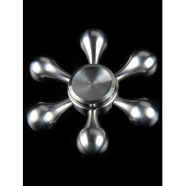 image of FLOWER SHAPE FIDGET SPINNER STAINLESS STEEL STRESS RELIEF GYRO (SILVER) -