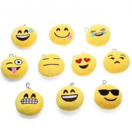 image of 10PCS MINI EXPRESSION CUTE EMOTION SMILEY CUSHION STUFFED PLUSH TOY (YELLOW) -