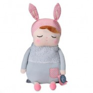 image of METOO CUTE PLUSH DOLL BAG SOFT BACKPACK GIFT FOR KIDS GIRLS (LIGHT GRAY) -