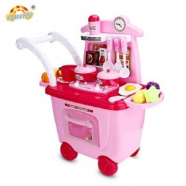 image of RANXIAN CRX525 - 11 30PCS KIDS TROLLEY TOYS KITCHEN THEME (PINK) 0