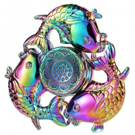 image of CARP LOTUS PATTERN ZINC ALLOY FIDGET TRI-SPINNER FUNNY STRESS RELIEVER ADULT FIDGETING TOY (COLORMIX) -