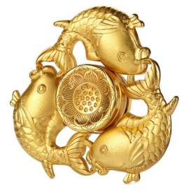 image of CARP LOTUS PATTERN ZINC ALLOY FIDGET TRI-SPINNER FUNNY STRESS RELIEVER ADULT FIDGETING TOY (GOLDEN) -