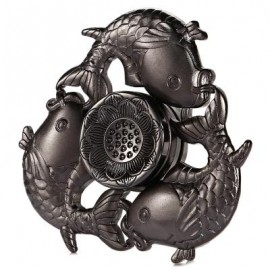 image of CARP LOTUS PATTERN ZINC ALLOY FIDGET TRI-SPINNER FUNNY STRESS RELIEVER ADULT FIDGETING TOY (GRAY) -
