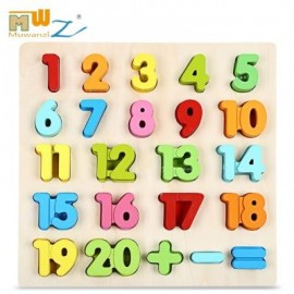 image of WOODEN NUMBER BLOCK PUZZLE EDUCATIONAL TOY FOR CHILDREN (COLORFUL) NUMBER