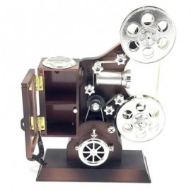 image of MOVIE PROJECTOR PLASTIC MUSIC BOX (BROWN) 0