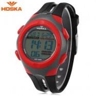 image of HOSKA H012S DIGITAL CHILDREN SPORT WATCH 5ATM STOPWATCH ALARM BACKLIGHT DATE DAY LED WRISTWATCH (RED) 0