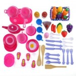 54PCS KID KITCHEN PRETEND COOKWARE VEGETABLE FRUIT PLAY TOY SET (COLORMIX) -