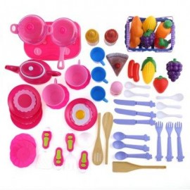image of 54PCS KID KITCHEN PRETEND COOKWARE VEGETABLE FRUIT PLAY TOY SET (COLORMIX) -