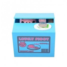 image of ROBOTIC STEALING MONEY PIG TOY COIN BANK / SAVING BOX GREAT KIDS PRESENT (BLUE) -