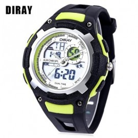 image of DIRAY DR - 323AD KIDS DUAL MOVT WATCH DATE DAY DISPLAY BACKLIGHT STOPWATCH ALARM 3ATM WRISTWATCH (GREEN) 0