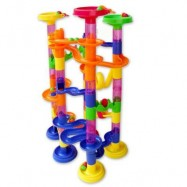 image of DELUXE MARBLE RACE GAME MARBLE RUN PLAY SET 105PCS DEVELOPING (COLOURMIX) 31.50 x 22.50 x 8.00 cm