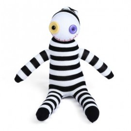 image of BABY HANDMADE BLACK WHITE STRIPED SOCK CLOWN DOLL STUFFED TOY 26.00 x 19.00 x 11.00 cm