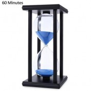 image of HOURGLASS SAND TIMER 60 MINUTES WOOD SAND TIMER FOR KITCHEN OFFICE SCHOOL DECORATIVE USE (BLACK BLUE) -