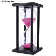 image of HOURGLASS SAND TIMER 60 MINUTES WOOD SAND TIMER FOR KITCHEN OFFICE SCHOOL DECORATIVE USE (BLACK PINK) -