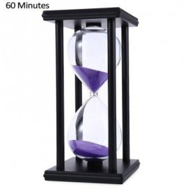image of HOURGLASS SAND TIMER 60 MINUTES WOOD SAND TIMER FOR KITCHEN OFFICE SCHOOL DECORATIVE USE (BLACK PURPLE) -