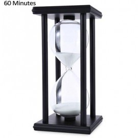 image of HOURGLASS SAND TIMER 60 MINUTES WOOD SAND TIMER FOR KITCHEN OFFICE SCHOOL DECORATIVE USE (BLACK WHITE) -