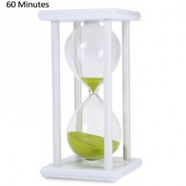 image of HOURGLASS SAND TIMER 60 MINUTES WOOD SAND TIMER FOR KITCHEN OFFICE SCHOOL DECORATIVE USE (WHITE GREEN) -