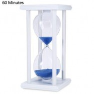 image of HOURGLASS SAND TIMER 60 MINUTES WOOD SAND TIMER FOR KITCHEN OFFICE SCHOOL DECORATIVE USE (WHITE BLUE) -