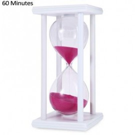image of HOURGLASS SAND TIMER 60 MINUTES WOOD SAND TIMER FOR KITCHEN OFFICE SCHOOL DECORATIVE USE (WHITE PINK) -